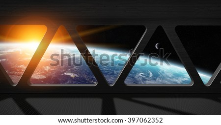 Window view of planet earth from a space station \'elements of this image furnished by NASA\'