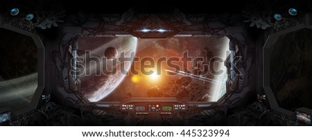 Window view of space and planets from a space station '3D rendering' 'elements of this image furnished by NASA' #445323994