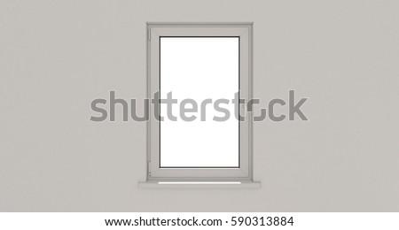Window. Wall. White. Aluminum window. White window. Pvc window. 3d. 3D render. #590313884