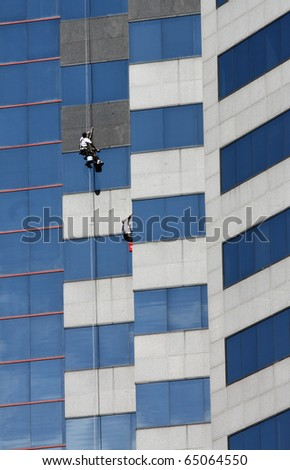Window Washer on High Rise Office Building