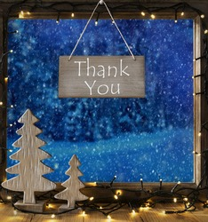 Window, Winter Forest, Text Thank You