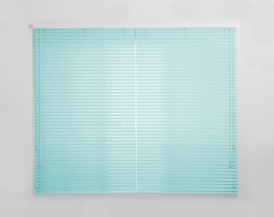 Window with closed turquoise blinds in room