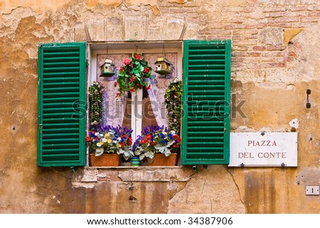 Window with hatches and flowers in the city Lucca - stock photo