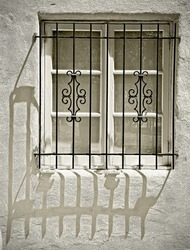Window with Ornamental Metal Lattice Sepia Toned Vintage Abstract
