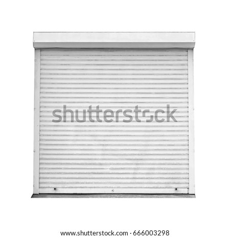 Window with roller shutters on white background #666003298