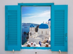window with view of caldera and classical church with blue domes , Oia, Santorini, Greece