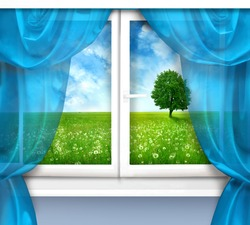 window with view of the beautiful landscape