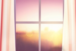 windows and blind and sunrise nature background