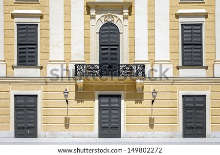 Windows and doors of royal Schonbrunn palace exterior in Vienna, Austria