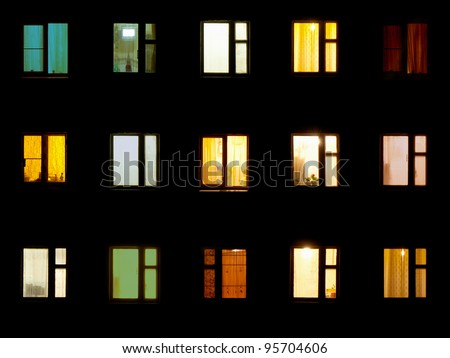 Windows at night. House building lights seamless background #95704606