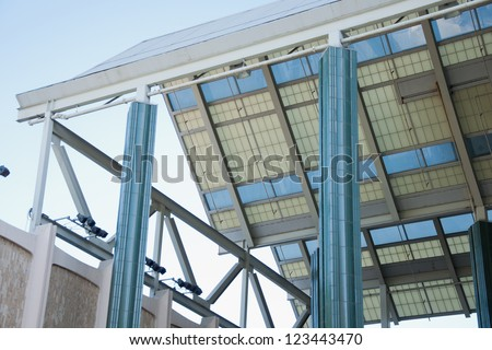 Windows blinds outside of modern building