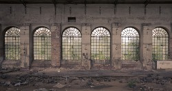 Windows in an abandoned factory, lost place in Germany