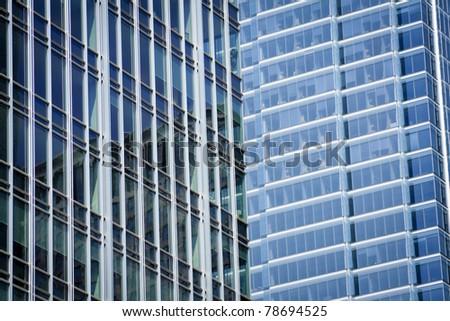 Windows in modern buildings in city downtown