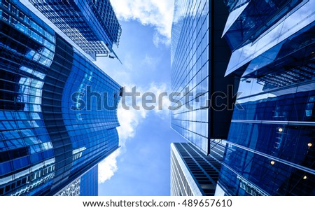 windows of business building in Hong Kong #489657610