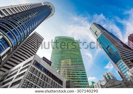 Windows of  modern office buildings, Skyscraper Business Office, Corporate building in Singapore
