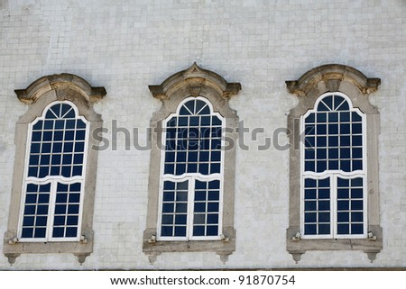 windows of old church nosso senhor do bonfim in historical place in bahia brazil