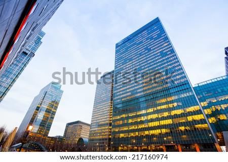 Windows of Skyscraper Business Office, Corporate building in London City, England, UK #217160974