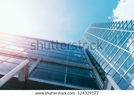 Windows of Skyscraper Business Office with blue sky, Corporate building in city. #524329177