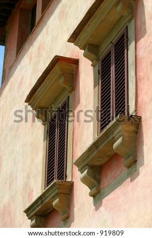Windows on the Tuscan Villa Vignamaggio, where the Mona Lisa was painted