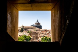 Windows view of center of toledo from Mechanical stairs, Toledo,