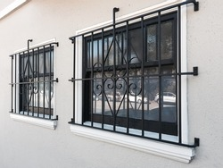 windows with grill steel
