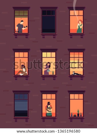 Windows with neighbors. Residential exterior window, neighborhood people talking building group fun indoors apartments, set