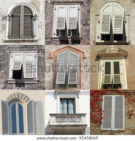 windows with white old shutters, collection from Italy