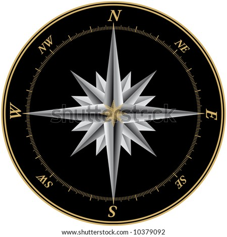 Windrose illustration with black background and marks for each of the 360 degrees
