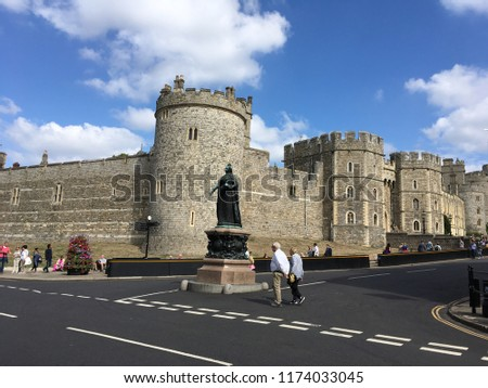 Windsor Castle in the historic town of Windsor on the River Thames, a residence of the British Royal Family, a venue for hosting state visits and a popular English tourist attraction #1174033045
