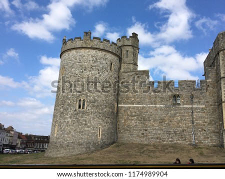 Windsor Castle in the historic town of Windsor on the River Thames, a residence of the British Royal Family, a venue for hosting state visits and a popular English tourist attraction #1174989904