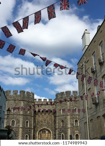 Windsor Castle in the historic town of Windsor on the River Thames, a residence of the British Royal Family, a venue for hosting state visits and a popular English tourist attraction #1174989943