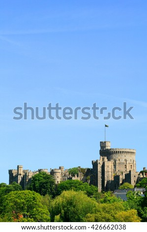Windsor Castle in Windsor, Berkshire England,  built by William The Conqueror soon after his invasion of England in 1066 with a clear blue sky and plenty of copy space  #426662038