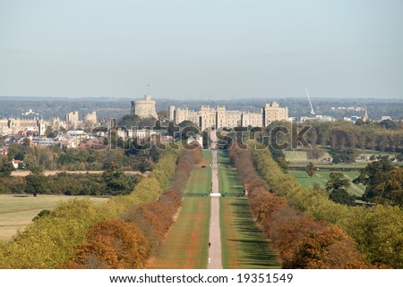 Windsor Castle viewed from the Long Walk in Windsor Great Park in Autumn colors