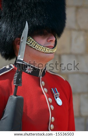 WINDSOR, ENGLAND - CIRCA 2008: Close-up of guard at Windsor Castle