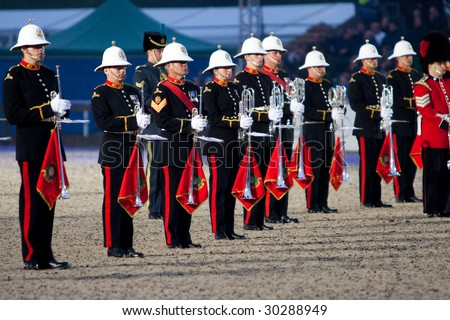 stock photo : WINDSOR - MAY 13: The band of the Royal Marines at attention