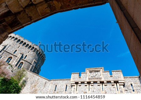 Windsor, UK - April 2018: The Round Tower in the Middle Ward of Windsor Castle, a royal residence at Windsor in county of Berkshire, England, UK #1116454859