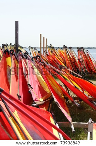 windsurf boards and sails standing by the seaside  for hire - stock photo