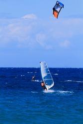 Windsurfer and kite in Zakythos island Greece