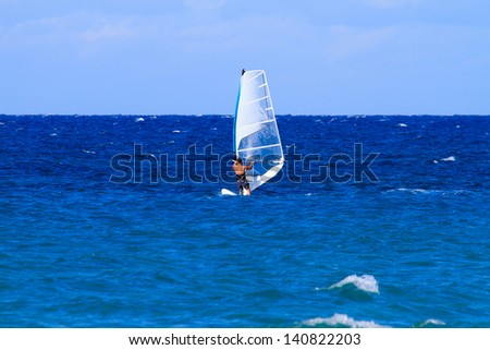 Windsurfer in Zakythos island Greece