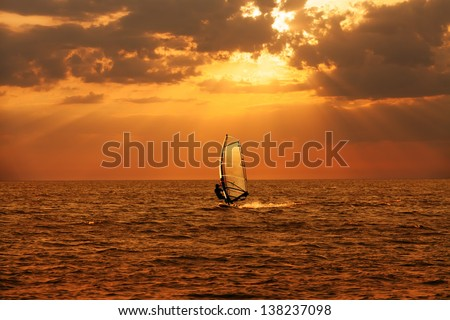 Windsurfer sailing in the sea at sunset