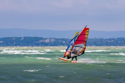 Windsurfers on Lake Balaton, Hungary