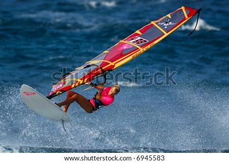 Windsurfing at Hookipa Beach Park Maui Hawaii