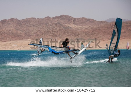 Windsurfing in Dahab. Extreme jump. Red Sea, Egypt.
