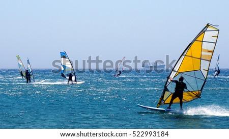 Windsurfing in the Mediterranean sea