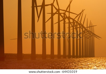 Windturbines with a sunset