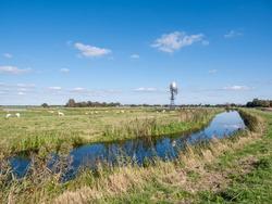 Windwatermill draining wetland polder, water level control in nature reserve Alde Feanen, Friesland, Netherlands