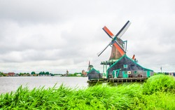 Windwills of Holland, on the banks of Zaans river
