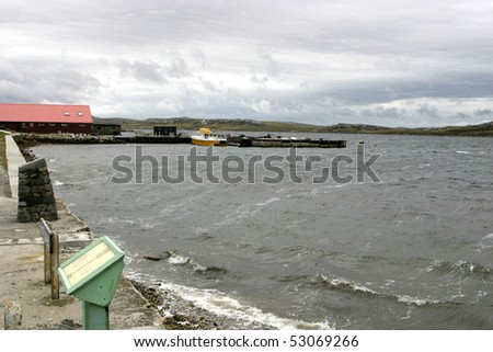 Windy and roug weather makes waves in bay of Port Stanley, Falklands