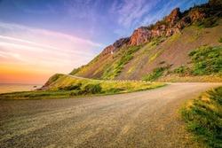 Windy road on the coast - Cabot trail, Cape breton, nova scotia, Canada landscape