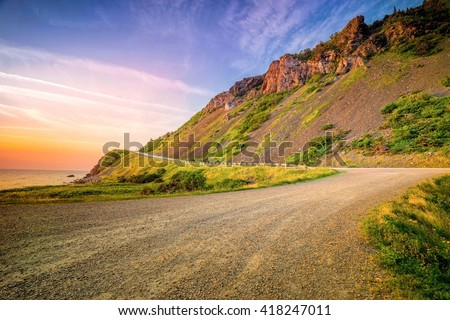 Windy road on the coast - Cabot trail, Cape breton, nova scotia, Canada landscape